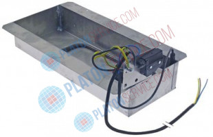 condensing tray heated L 415mm W 155mm H 77mm 230V 500W with float switch overall width 240mm
