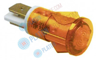 indicator light ø 13mm yellow 230V connection male faston 6.3mm temp.-resist. 120°C