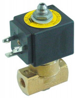 "solenoid valve 3-ways 230VAC connection 1/8"" DN 2mm slide-on receptacle DIN -20° up to 130°C"