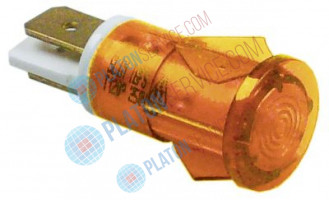 indicator light ø 12mm yellow 230V connection male faston 6.3mm temp.-resist. 120°C