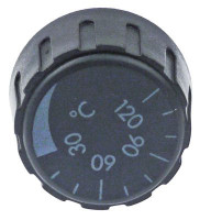knob thermostat t.max. 120°C 0-120°C ø 36mm shaft ø 6x4.6mm shaft flat upper black