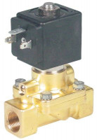 "solenoid valve 2-ways 24 VAC connection 3/8"" L 69mm DN 12mm slide-on receptacle DIN fixed 90°C"